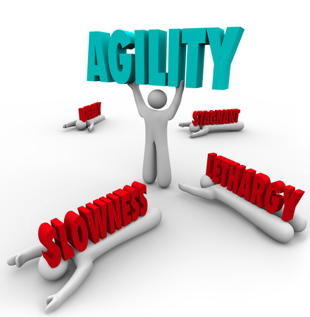 agility people: Person lifting Agility word to survive and achieve success despite a challenge while others are crushed by slowness, delay or stagnation