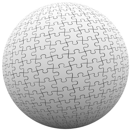 linking: Jigsaw puzzle pieces fit together in a ball or sphere to illustrate parts connecting or linking together to create a cohesive whole Stock Photo