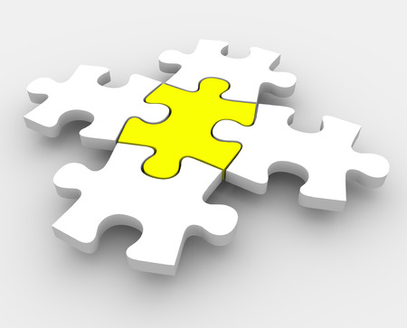 completed: Jigsaw puzzle pieces fitting together with one yellow central piece as the middle or center integral leader or essential ingredient