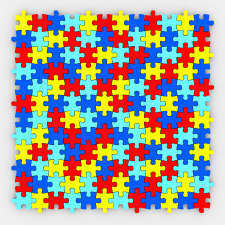 Gekleurde puzzelstukjes in elkaar passen in een compleet afgewerkte beeld te illustreren harmonie, de maatschappij en teamwork werken als een gemeenschap of familie