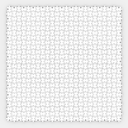 finished: Small puzzle pieces arranged or connected together in a pattern to illustrate fitting together as a community or team in harmony Stock Photo