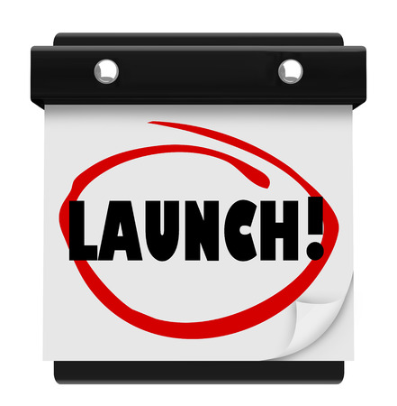 commencing: Launch word circled on a wall calendar day page to illustrate and remind you of the date for a new product, company or business starting or beginning, or commencing to work toward a goal