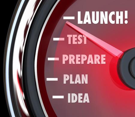 Palabra lanzamiento en un velocímetro con aguja roja Idea pasado, planee, prepárese y prueba para ilustrar el éxito de partida o inicio de un nuevo producto, negocio o empresa Foto de archivo - 27471994