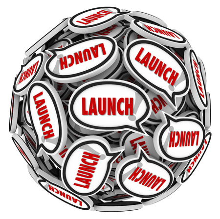 launched: Launch word in speech bubbles in a sphere to illustrate spreading buzz and word of mouth about a new company, business, store or product