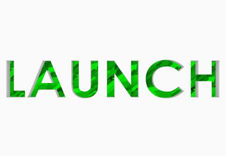 Launch word in 3d letters cut out and revealing arrows going upward to illustrate success in starting a new business venture, company, product or service that attracts many customers Imagens