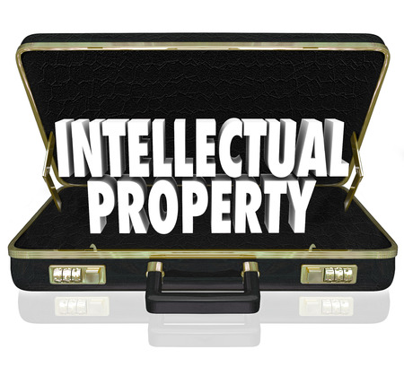 Intellectual Property 3d words in a black leather briefcase to illustrate a business offering its copyrighted, trademarked or patented designs or products for sale or license Stock Photo
