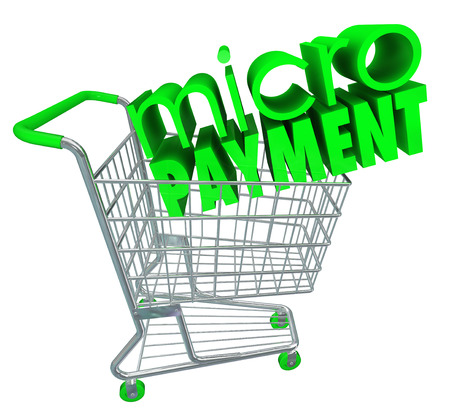 Micro Payments word on a green shopping troll
