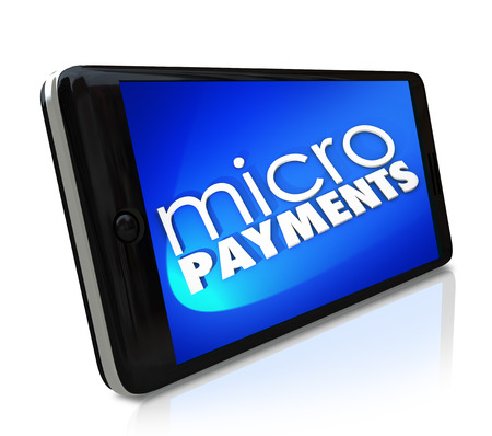Micro payments word on a smart cell phone Imagens - 27678770