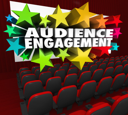 Audience Engagement words on a movie theater screen