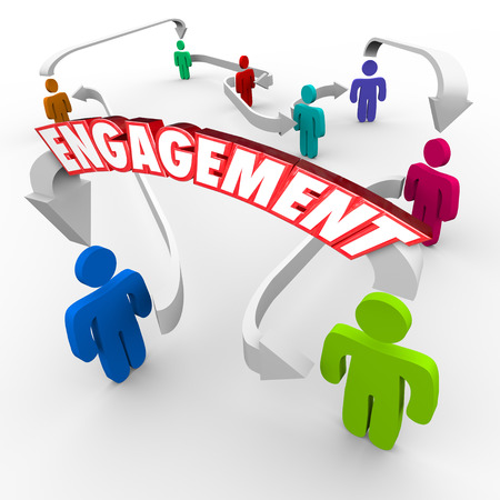 engaging: Engagement word on an arrow between people, customers or audience members