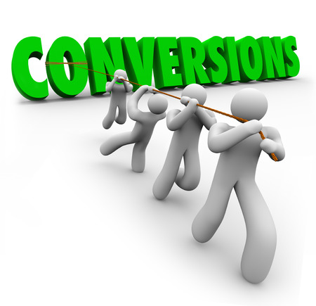 transactional: Conversions word pulled by a team of workers combining strengths