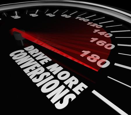 Rijden meer conversies woorden op een zwarte auto snelheidsmeter tot toenemende verkoop van merchandise voor uw winkel of website te illustreren als een succesvol bedrijf of onderneming