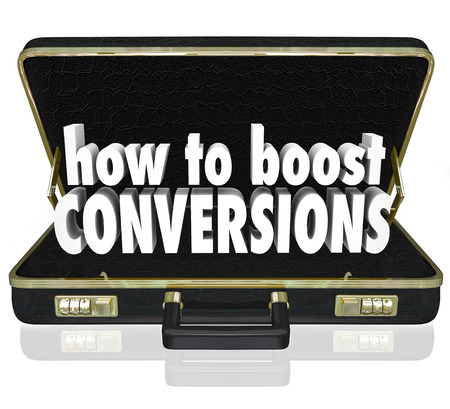 transactional: How to Boost Conversions words in 3d letters inside a black leather business briefcase