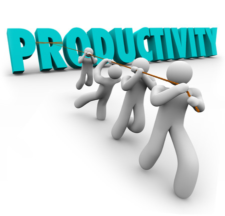 Productivity Word pulled up by workers lifting and cooperating together to achieve better or improving results toward a common goal such as success in business