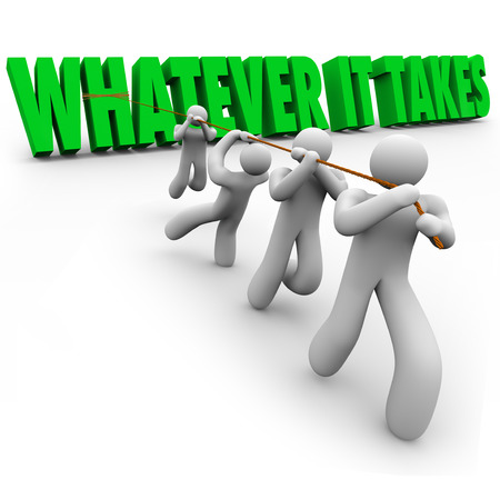 Whatever It Takes 3d words pulled by a team of workers working together to overcome a challenge or obstacle and reach a shared or common goal of achievement and successful mission completion Imagens