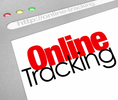 locating: Online Tracking words on a website, internet store or online delivery service to illustrate searching for and finding our order or package Stock Photo