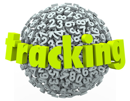 Tracking word in 3d letters on a sphere of numbers to illustrate searching for an order, package or item that is being shipped or delivered