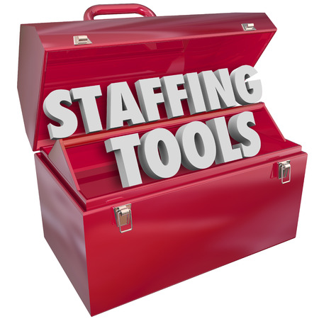 staffing: Staffing Tools 3d words in a red metal toolbox to illustrate a company using resources such as an employee agency to fill open positions
