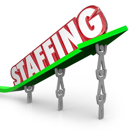 staffing: Staffing word on an arrow lifted by people who work together at jobs in a company or organization fulfilling human resources and management goals Stock Photo