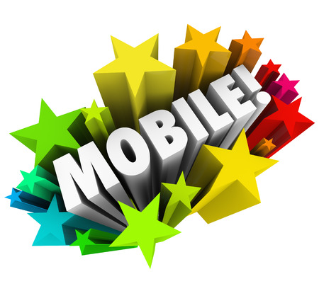 liberating: Mobile word in stars or fireworks to illustrate wireless technology such as smart phones or tablet computers