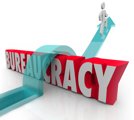 avoiding: Bureaucracy word and person jumping over it on an arrow to illustrate a person or man overcoming the obstacles of an organization standing in his way Stock Photo