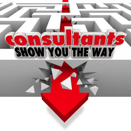 advisers: Consultants Show You the Way words on a maze wall as an arrow smashes through it to overcome an obstacle thanks to the expertise and guidance of professional advisers Stock Photo