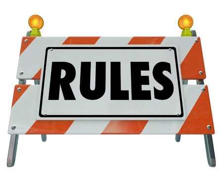to obey: Rules word on a road construction sign to illustrate following guidelines through compliance with gregulations and laws  Stock Photo