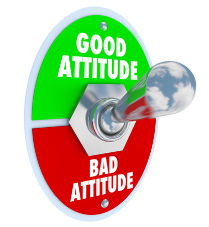 Good vs Bad Attitude words on a toggle switch illustrating the choice you can make to have a positive mood or outlook on life or career to accomplish big goals and overcome challenges Stockfoto