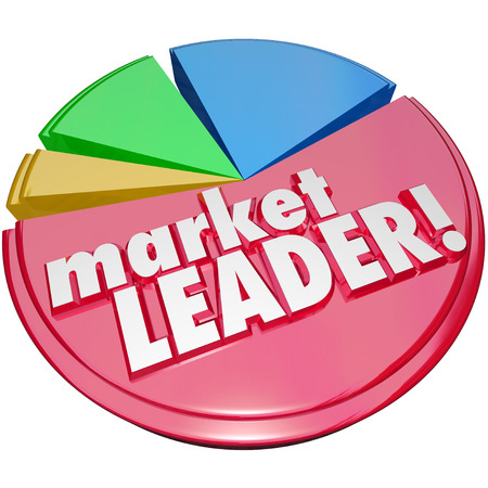 prevalent: Market Leader words on a 3d pie chart to illustrate the top company or business in a field of competitors fighting for the biggest piece of a customer base Stock Photo