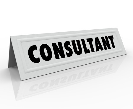 panelist: Consultant word on a name tent card for a speaking engagment as a panelist to share information or expertise as a professional advisor or subject matter expert Stock Photo