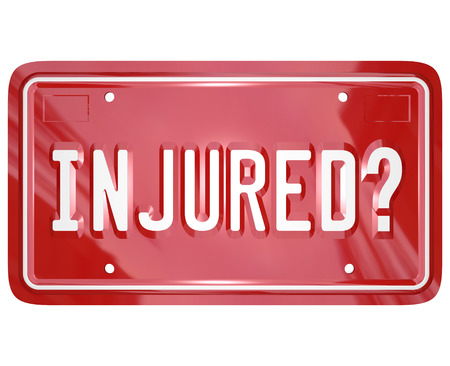 Injured question on a 3d red license plate to illustrate seeking judgment against another party in a court of law through injury attorney or class action lawsuit Stock fotó