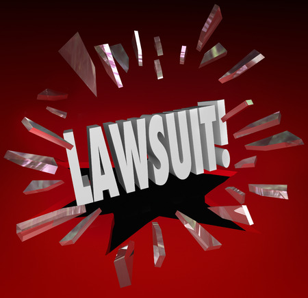 law breaking: Lawsuit word breaking through red glass to illustrate legal action brought by a plantiff against a defendant in a court of law through opposing lawers or attorneys