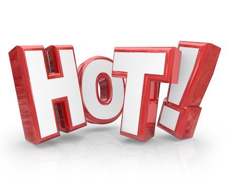 Hot word in red 3d letters to illustrate something that is popular, trending, new or buzzworthy such as sale merchandise, news stories or trends you must see now photo