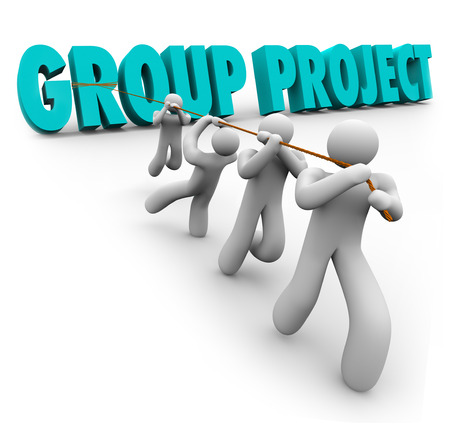 Group Project words pulled by a group of students, workers or other people to illustrate working together in cooperation and collaboration to achieve, finish or complete a collective goal or objective photo