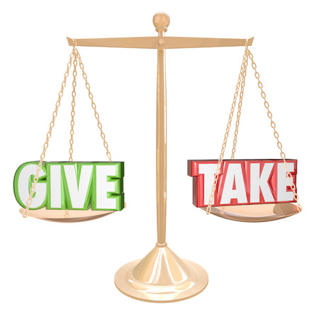 Give and Take words on a gold scale or balance to illustrate sharing, cooperating, collaborating, giving and generosity