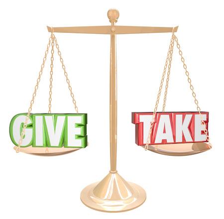 altruismo: Dar y recibir palabras en una escala de oro o de equilibrio para ilustrar compartir, cooperar, colaborar, entrega y generosidad