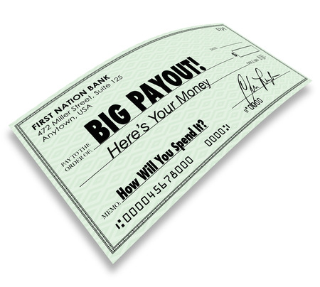 compensated: Big Payout words on a check to illustrate money earnings, winning, jackpot, commissions or salary paid out to you Stock Photo