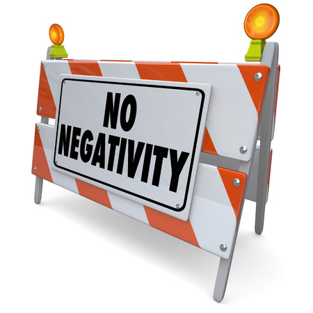 No Negativity words on a road construction barrier or sign to illustrate that only positive attitudes, good moods and outlooks are allowed Stock Photo - 27935284