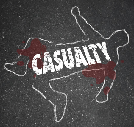 injustice: Casualty word on a chalk outline on black pavement to illustrate someone who has been killed, injured or an innocent bystander involved in an accident or unintended consequence
