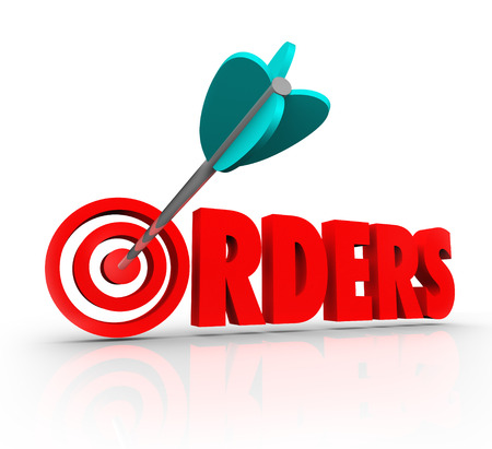 placing: Orders word in 3d red letters and an arrow in a bulls-eye target to illustrate increasing sales and purchases from customers at a store Stock Photo