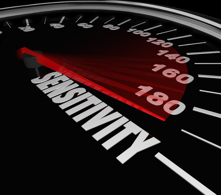 sensitivity: Sensitivity Word Speedometer measuring your level of feeling, sympathy, sensation or nerves and illustrating an increasing or improving amount of altertness or awareness