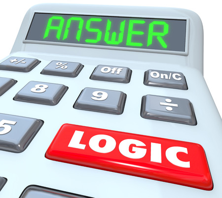 rationale: Logic Word on a red calculator button and Answer on digital display to illustrate an equation or formula for solving a math problem
