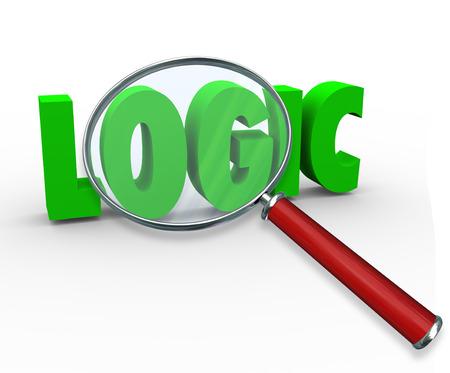 hipótesis: Palabra lógica en verde letras 3d bajo una lupa para ilustrar la búsqueda de una respuesta o solución a un problema con el pensamiento racional y la razón Foto de archivo