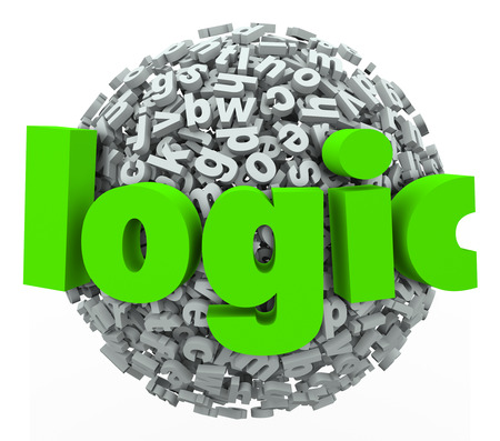 deduce: Logic 3d word on a ball or sphere of letters to illustrate reason and rational thought and hyphothesis in applying scientific method and reasoning to deduce an answer or solution