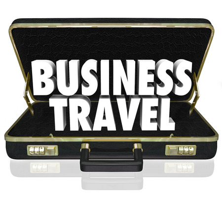 initiatives: Business Travel words in a black leather briefcase to illustrate going from one place to another to conduct company goals and objectives with meetings and other initiatives Stock Photo