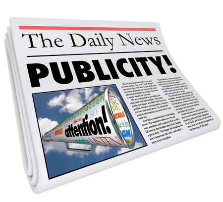 Publicity word in a newspaper headline