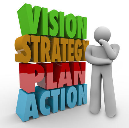 persona pensando: Palabras de la visi�n, estrategia, plan y acci�n en 3d letras junto a una persona que piensa Foto de archivo
