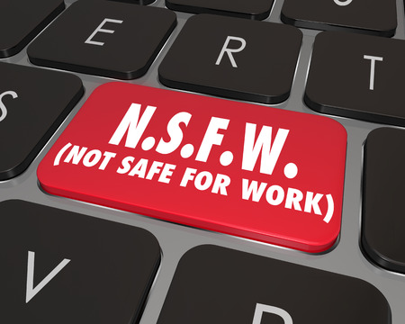 NSFW Not Safe for Work words on a computer keyboard key or button photo