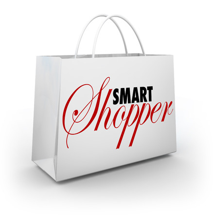 smart: Smart Shopper words on a white 3d shopping bag
