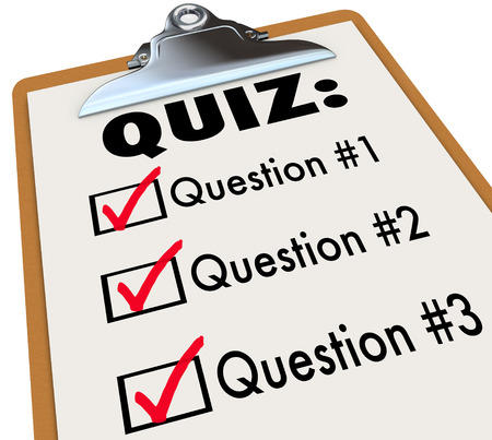 trivia: Quiz clipboard of questions and answers marked in checklist boxes